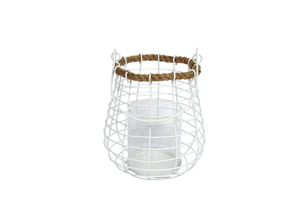Candle Holder: Wire Large Round Cage Lantern with Rope Rim - White - Gisela Graham