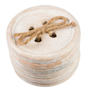 Wooden button coasters set of 6