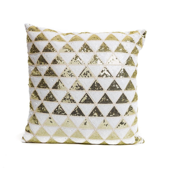 Gold and white sequin cushion