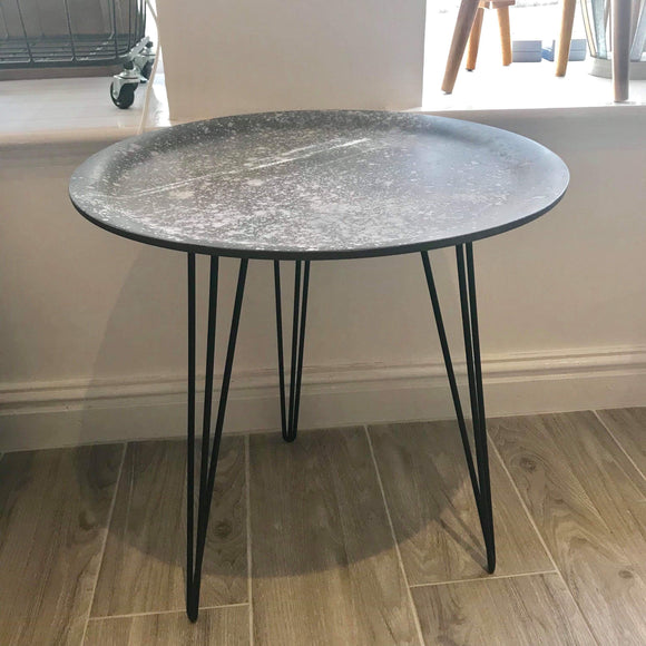 Cement style hairpin leg side table