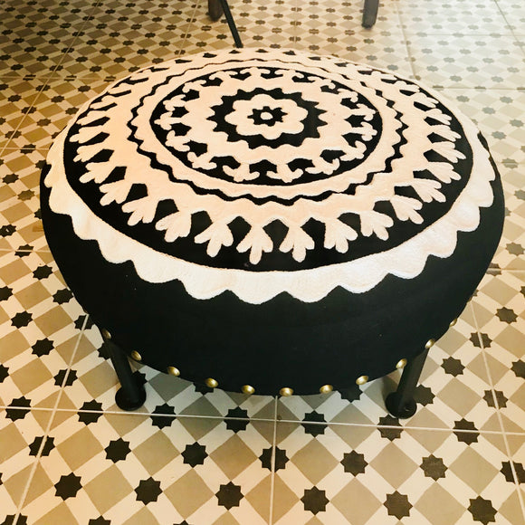 Black and white stool