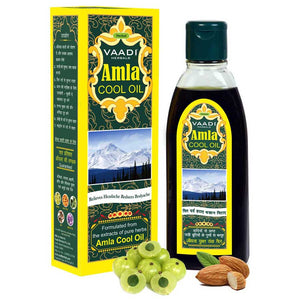 Organic Brahmi Amla Cool Oil - Strengthens and Nourishes Hair - Relieves Stress - Promotes Sound Sleep (200ml/7 fl oz)