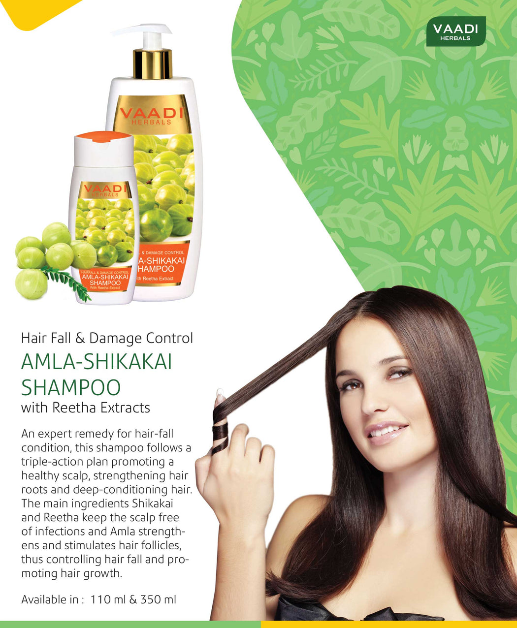 Hairfall & Damage Control Organic Shampoo (Indian Gooseberry Extract) - Promotes Hair Growth - Adds Shine to Hair (3 x 110 ml/4 fl oz)