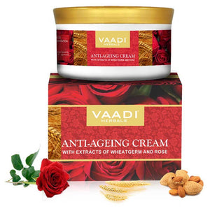 Organic Anti Ageing Cream with Almond, Wheatgerm - Boosts Collagen & Delays Wrinkles - Keeps Skin Soft & Youthful (150 gms / 5.3 oz)