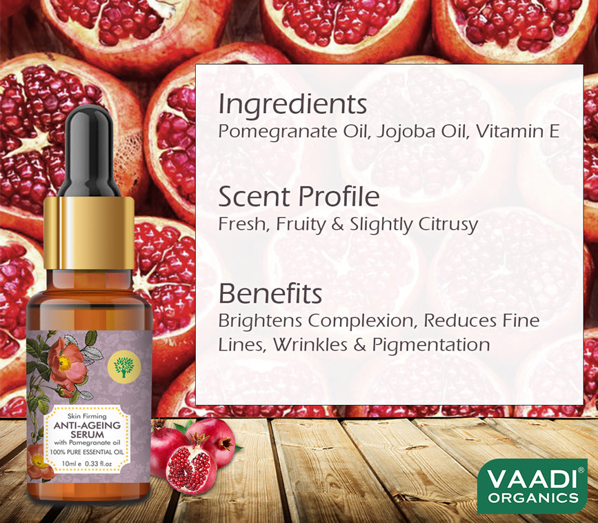 Organic Vitamin E Anti Ageing Serum with Pomegranate Oil - Reduces Fine Lines, Lightens Wrinkles & Brightens Complexion (10 ml/ 0.33 oz)