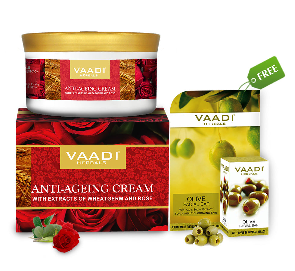 Organic Anti Ageing Cream (150 gms) with free Organic Olive Facial Bar (25 gms)