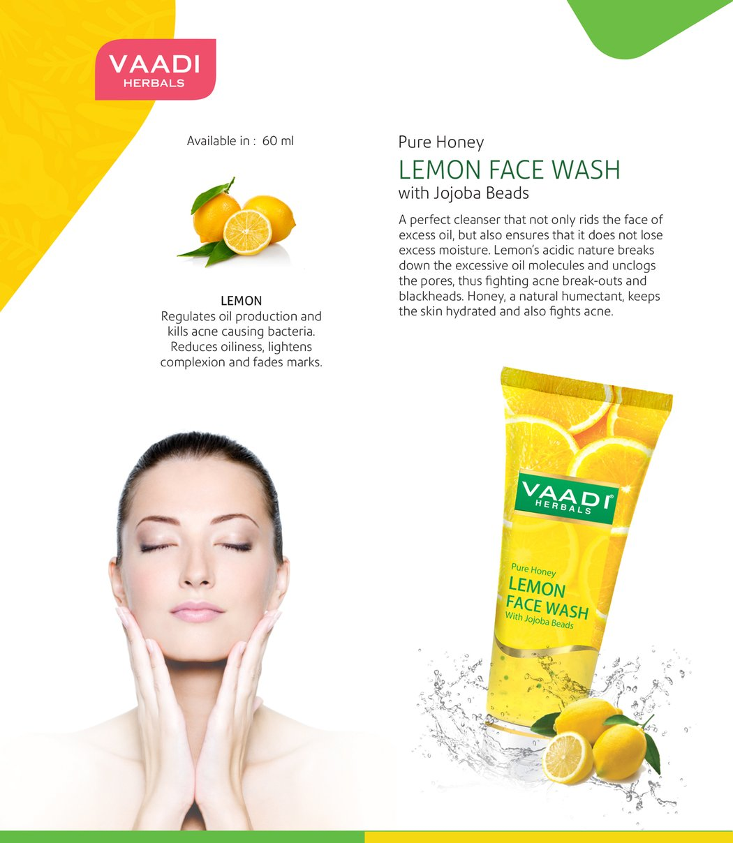 Skin Hydrating Organic Lemon Face Wash with Jojoba Beads - Removes Excess Oil - Prevents Acne (60 ml / 2.1 fl oz)