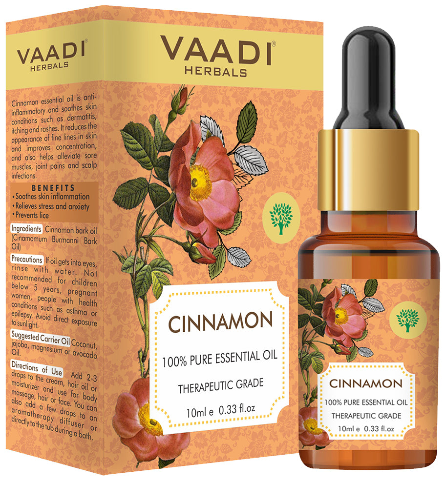 Organic Cinnamon Essential Oil - Soothes Skin Inflammation, Relieves Stress & Anxiety & Improves Concentration - 100% Pure Therapeutic Grade (10 ml/ 0.33 oz)