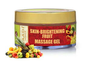 Skin Brightening Organic Fruit Massage Gel with Orange Extract & Turmeric - Removes Sun Tan - Lightens Complexion ( 50 gms /2oz)