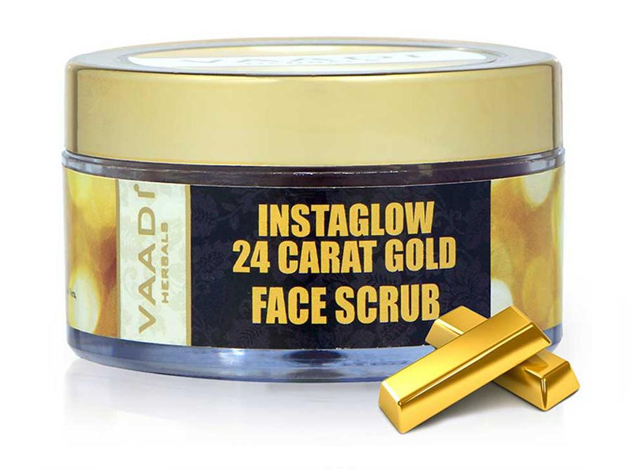 Organic 24 Carat Gold Scrub with Sandalwood & Turmeric - Clears Oil & Impurities - Makes Skin Luminous ( 50 gms / 2oz)