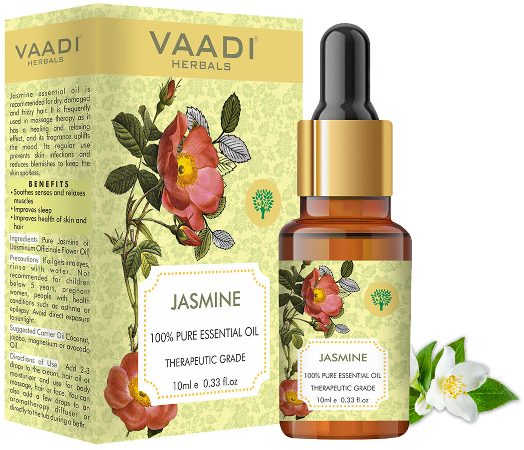 Organic Jasmine Essential Oil - Nourishes Dry & Damaged Hair, Improves Sleep, Uplifts Mood, Reduces Acne & Blemishes - 100% Pure Therapeutic Grade (10 ml/ 0.33 oz)