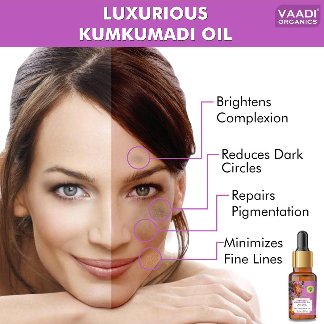 Organic Luxurious Kumkumadi Oil (Pure Mix of Saffron, Sandalwood, Manjistha & Almond Oil) - Reduces Dark Circles, Pigmentation & Brightens Complexion (10 ml/ 0.33 oz)
