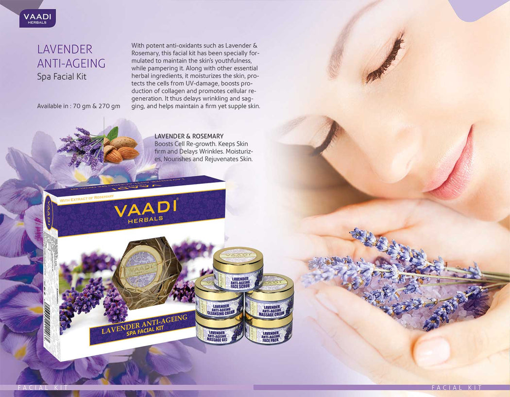 Anti Aging Organic Lavender Facial Kit with Rosemary Extract - Lightens Marks & Spots ( 270 gms/9.6 oz)