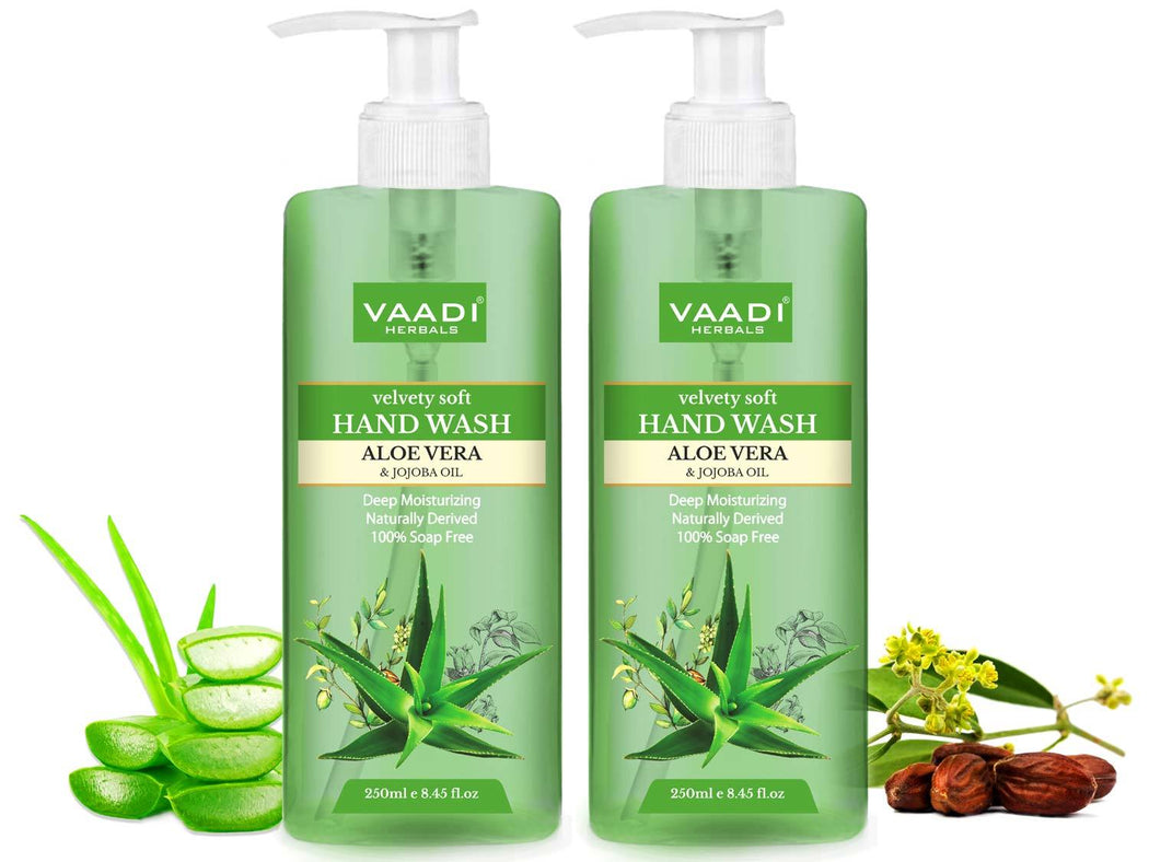 Pack of 2 Velvety Soft Organic Aloe Vera & Jojoba Oil Hand Wash (2 x 250 ml / 8.5 fl oz )