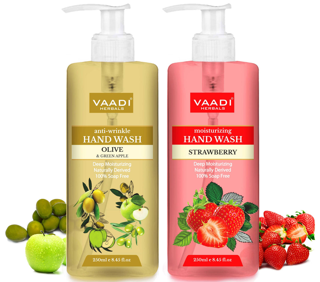 Rejuvenating - Pack of 2 Luxurious Handwash - Organic Olive & Strawberry (2 x 250 ml / 8.5 fl oz )
