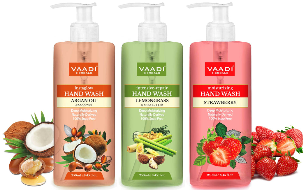 Pack of 3 Luxurious Handwash - Organic Argan Oil & Coconut, Lemongrass & SheaButter, Strawberry (3 x 250 ml / 8.5 fl oz )