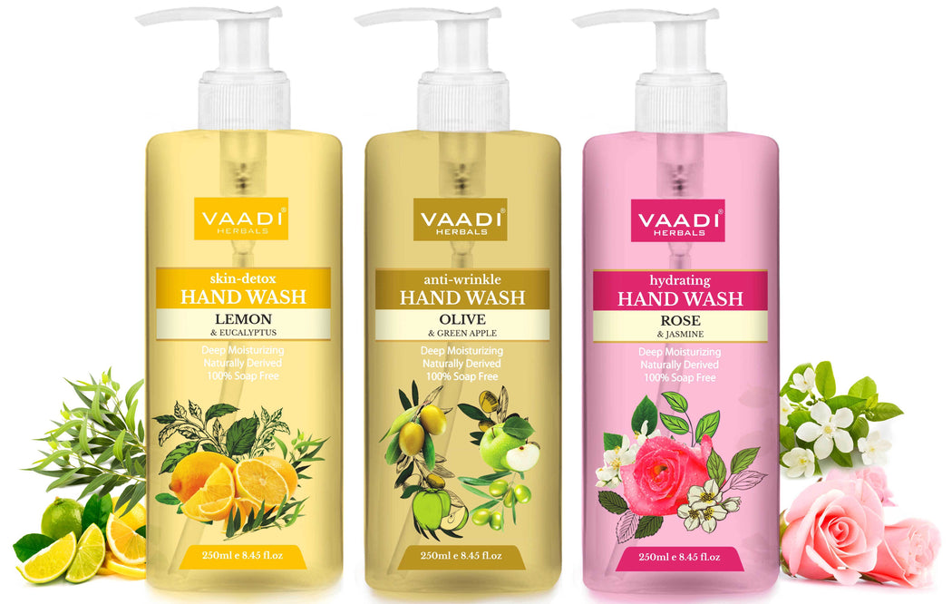 Pack of 3 Luxurious Handwash - Organic Lemon & Eucalyptus, Olive & Green Apple, Rose & Jasmine (3 x 250 ml / 8.5 fl oz )