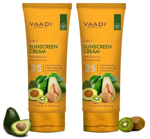 Organic Sunscreen Cream SPF 25 with Kiwi & Avocado Extract - Protects & Nourishes Skin - Enhances Complexion (2 x 110 gms / 4 oz)