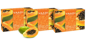 Organic Fresh Papaya Soap - Clears Impurities off Skin - Lightens Skin Tone - Gives a Natural Glow (3 x 75 gms / 2.7 oz)