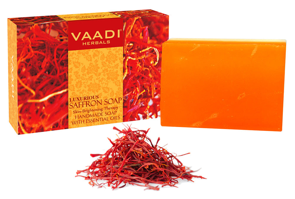 Luxurious Organic Saffron Soap - Skin Brightening Therapy - Evens Skin Tone - Lightens Marks ( 75 gms / 2.7 oz)