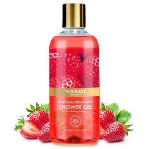 Blushing Organic Strawberry Shower Gel - Skin Firming Therapy - Enhances Collagen (300 ml / 10.2 fl oz)