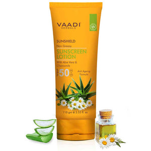 Organic Sunscreen Lotion SPF 50 with Aloe Vera & Chamomile - Non Greasy - Long Lasting - Soothes Burnt Skin (110 ml/ 4 fl oz)