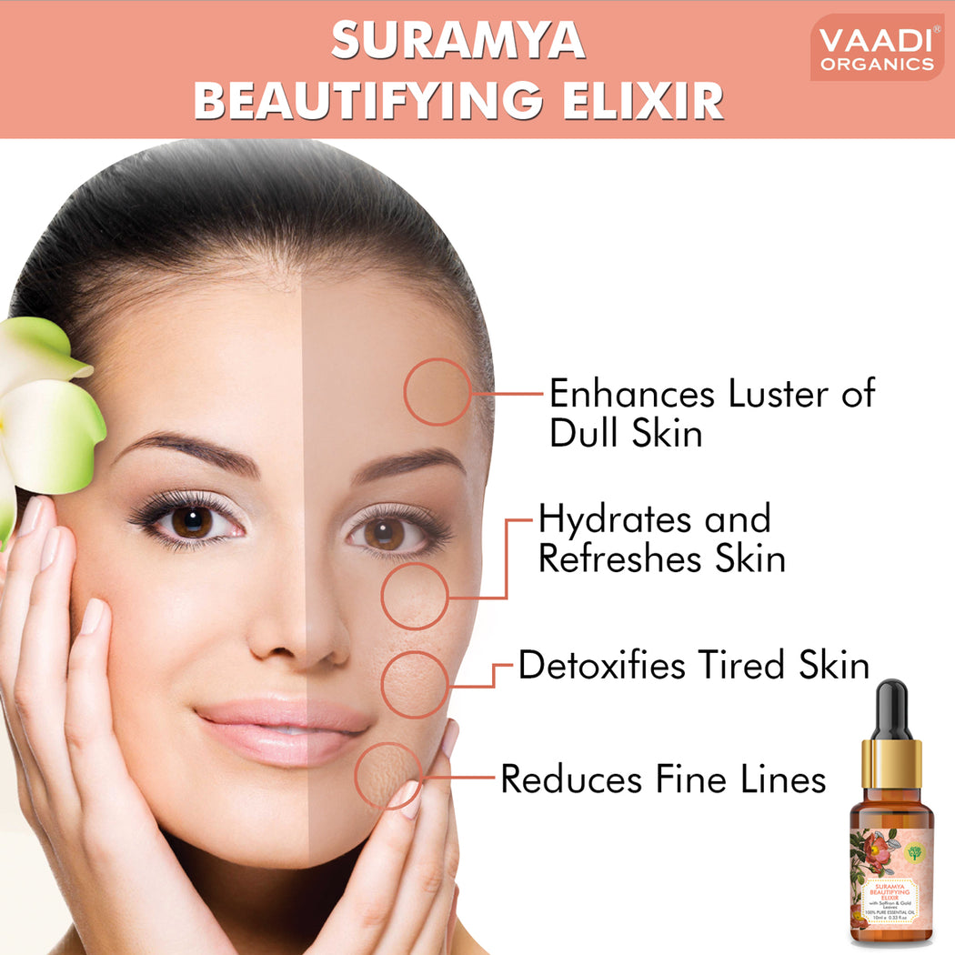 Organic Suramya Beautifying Elixr (Pure Mix of Saffron, 24k Gold Leaves & Sweet Almond Oil) - Reduces Fine Lines, Improves Skin Complexion & Gives a Natural Glow (10 ml/ 0.33 oz)