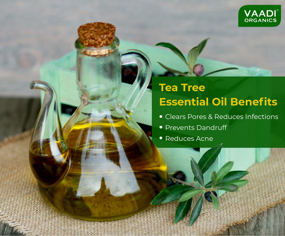 Organic Tea Tree Essential Oil - Reduces Acne, Prevents Dandruff & Hairfall (10 ml/ 0.33 oz)
