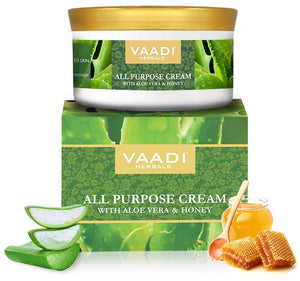 Organic All Purpose Cream with Aloe Vera, Honey & Manjistha - Lightens Pigmentation - Improves Complexion (150 gms/ 5.3 oz)