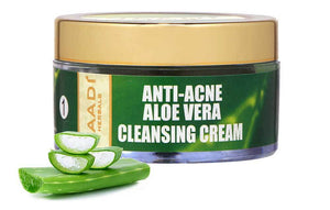 Anti Acne Organic Aloe Vera Cleansing Cream - Removes Skin Impurities - Keeps Skin Soft (50 gms/ 2 oz)