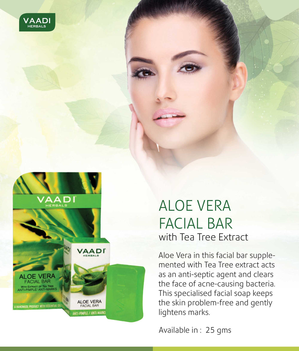 Organic Aloe Vera Facial Bar with Tea Tree and Honey - Reduces Acne - Keeps Skin Infection Free (6 x 25 gms/0.9 oz)