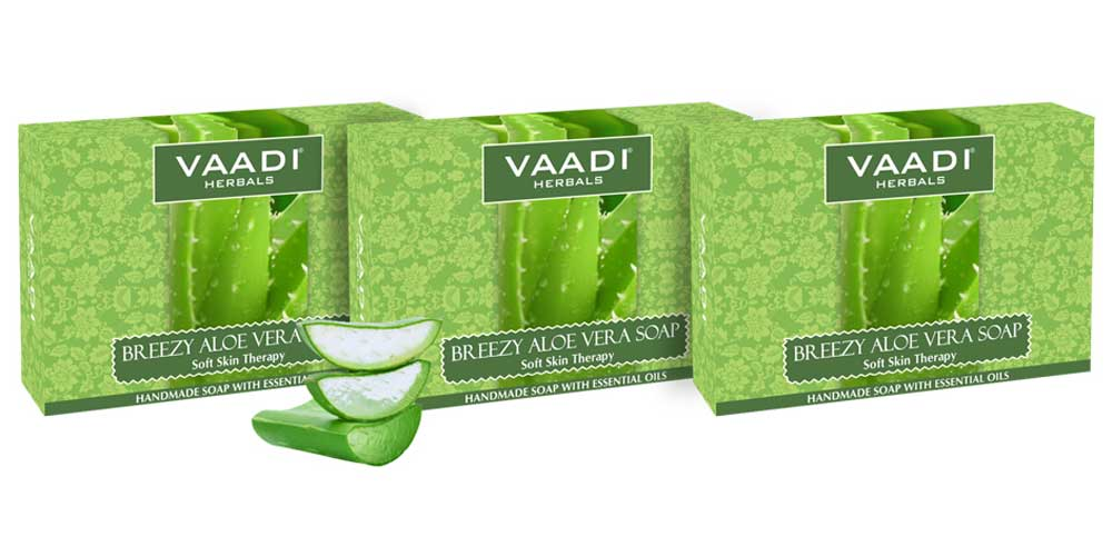 Breezy Organic Aloe Vera Soap with Honey - Anti Infective Therapy - Cleanses & Soothes Skin (3 x 75 gms / 2.7 oz)