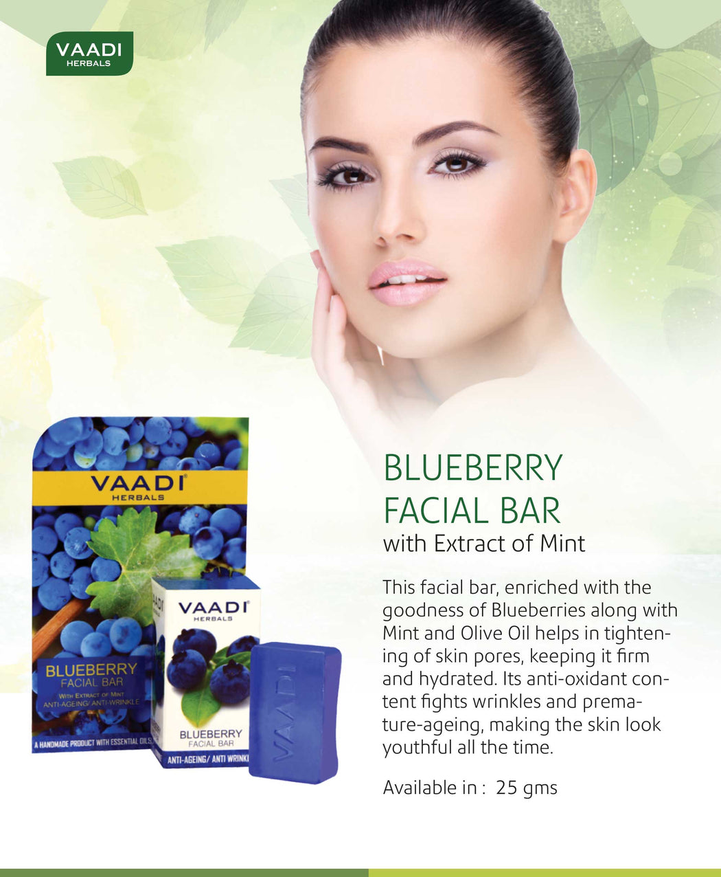 Organic Blueberry Facial Bar with Mint Extract & Olive Oil - Prevents Wrinkles - Makes Skin Youthful (25 gms/0.9 oz)