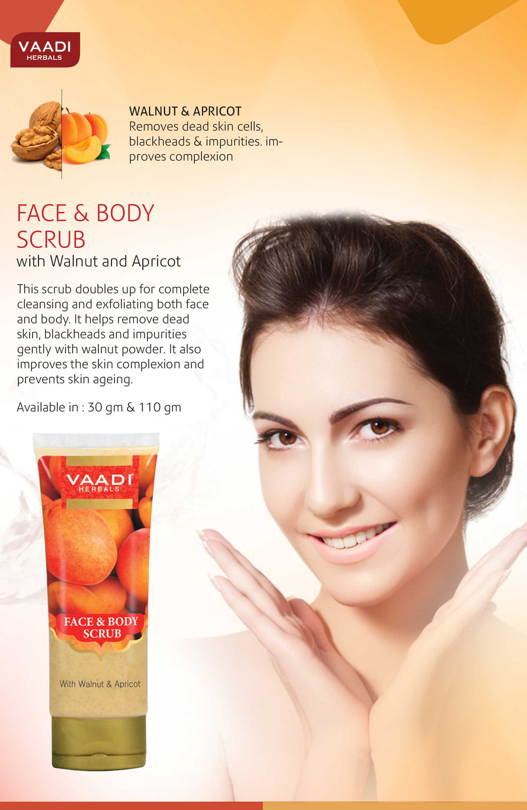 Organic Face & Body Scrub with Walnut & Apricot - Exfoliates & Unclogs Pores - Keeps Skin Youthful ( 110 gms / 4 oz)