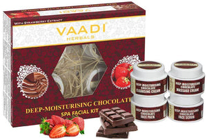 Organic Chocolate Facial Kit with Strawberry Extract - Deep Conditions & Tones Skin ( 70 gms/ 2.5 oz)