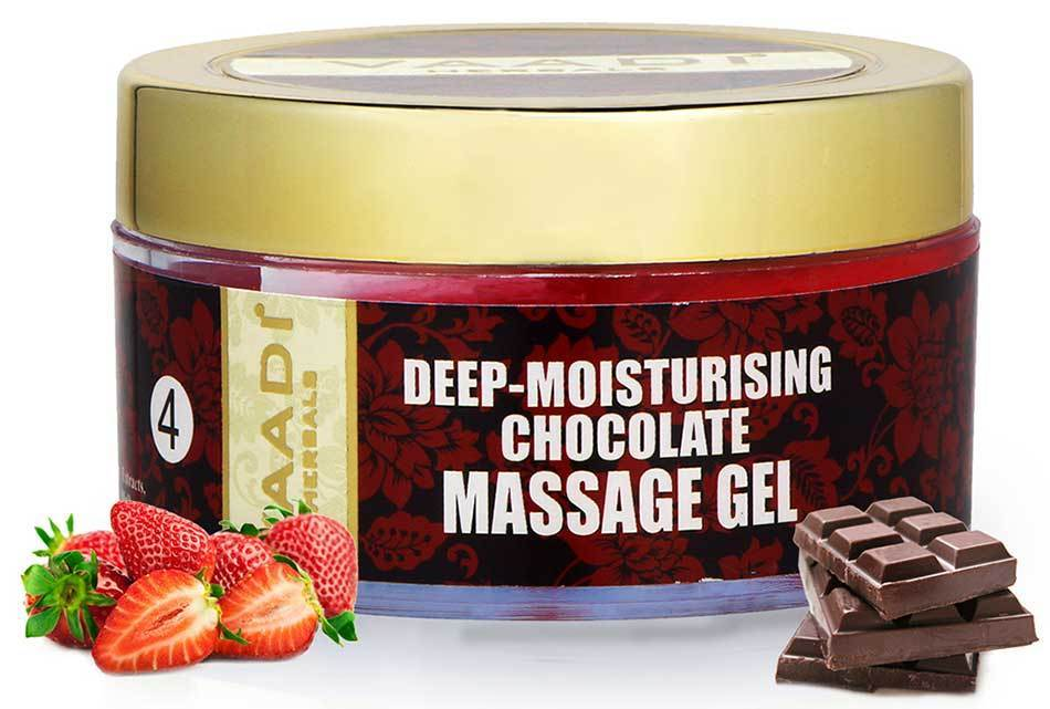 Deep Moisturising Organic Chocolate Massage Gel with Strawberry Extract - Softens Skin - Makes Skin Radiant (50 gms / 2 oz)