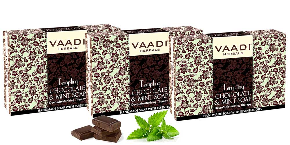 Tempting Organic Chocolate & Mint Soap - Deep Moisturising - Releives Irritated Skin (3 x 75 gms / 2.7 oz)