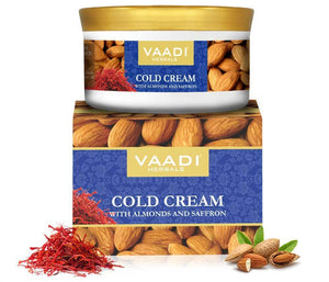 Organic Cold Cream with Almond Oil, Aloe Vera & Saffron - Protects & Moisturises Skin - Reduces Wrinkles (150 gms / 5.3 oz)