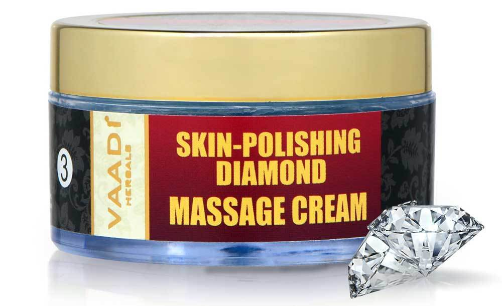 Skin Polishing Organic Diamond Massage Cream with Diamond Ash & Orange Oil - Hydrates & Nourishes Skin ( 50 gms/2 oz)