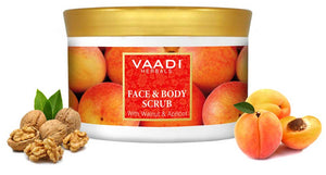 Organic Face & Body Scrub with Walnut & Apricot - Exfoliates & Unclogs Pores - Keeps Skin Youthful ( 500 gms / 17.7 oz)