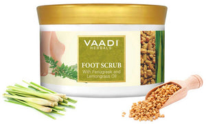 Organic Foot Scrub with Fenugreek & Lemongrass Oil - Therapeutic Exfoliates - Rejuvenates Damaged Skin - Softens Skin (500 gms / 17.7 oz)
