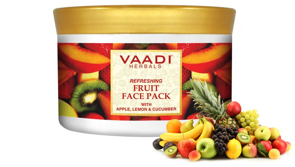 Refreshing Organic Fruit Face Pack with Apple, Lemon & Cucumber - Protects & Revitalizes Skin (600 gms /21.2 oz)