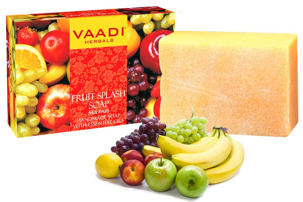 Organic Fruit Splash Soap with Orange, Peach, Lemon & Green Apple - Multivitamin Rich - Keeps Skin Nourished (75 gms/2.7 oz)