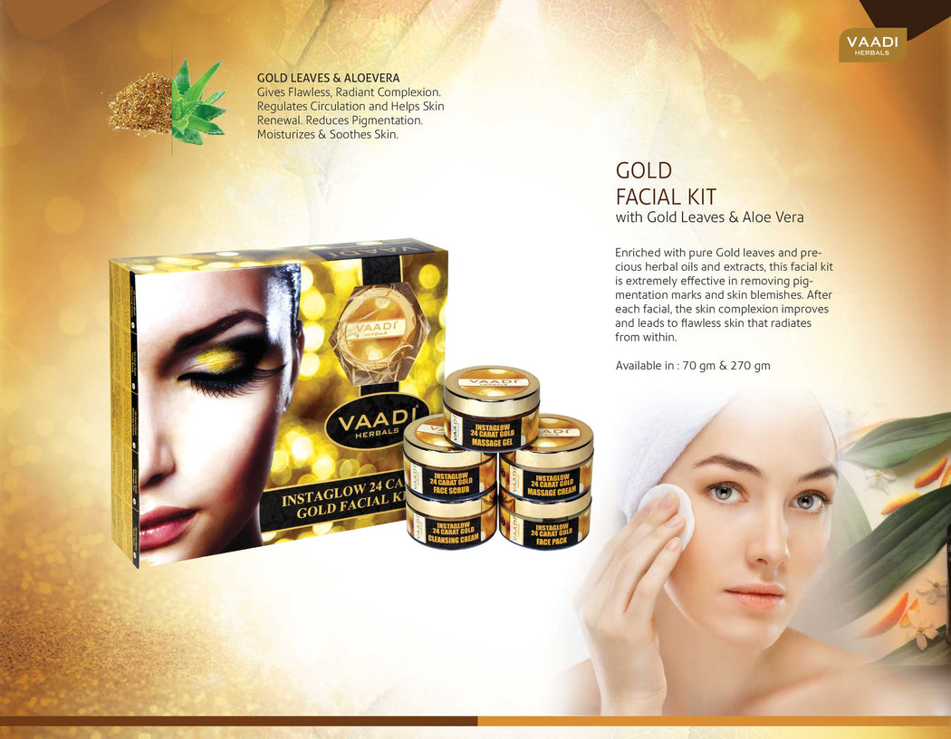 Organic 24 Carat Gold Facial Kit with Gold Leaves, Marigold & Wheatgerm Oil, Lemon Peel - Brightens Skin and Gives Glow (270 gms/9.6 oz)