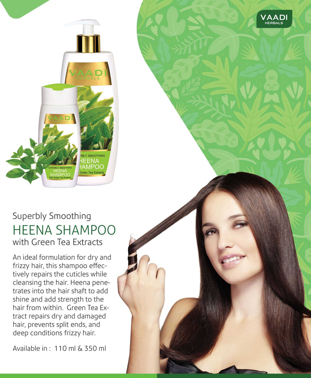 Superbly Smoothing Organic Heena Shampoo with Green Tea Extract - Controls Dry Frizzy Hair - Strengthens Hair (110 ml/4 fl oz)