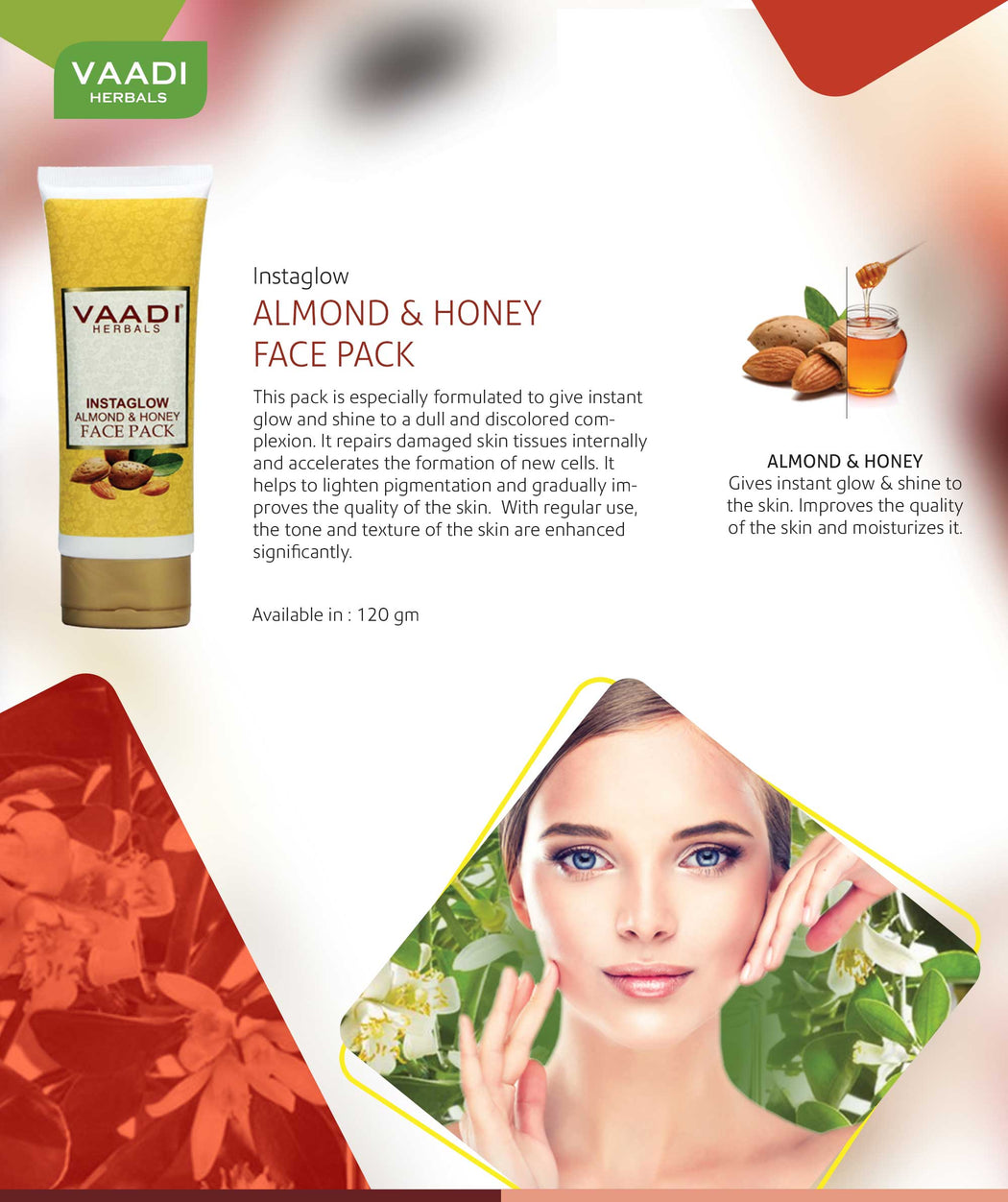 Organic InstaGlow Face Pack with Almond & Honey - Lightens Pigmentation - Gives Instant Glow (120 gms /4.3 oz)