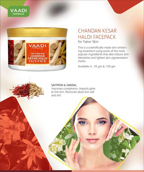 Organic Saffron Sandalwood Fairness Face Pack - Removes Marks and Lightens Skin Tone - Repairs and Protects Skin (600 gms /21.2 oz)