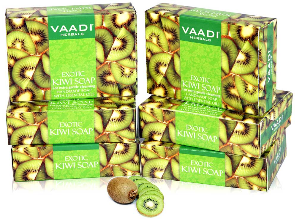 Exotic Organic Kiwi Soap with Green Apple Extract - Gently Clears Skin- Makes Skin Glowing (6 x 75 gms / 2.7 oz)