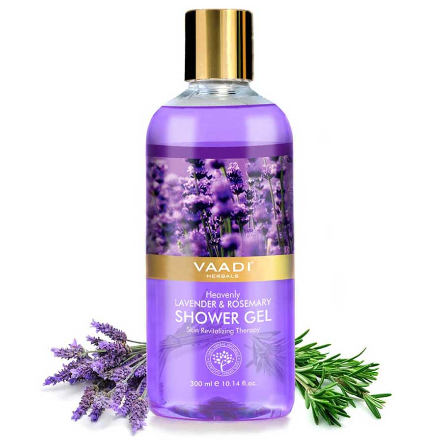 Heavenly Organic Lavender & Rosemary Shower Gel - Skin Rejuvenating Therapy - Relieves Puffiness (300 ml / 10.2 fl oz)