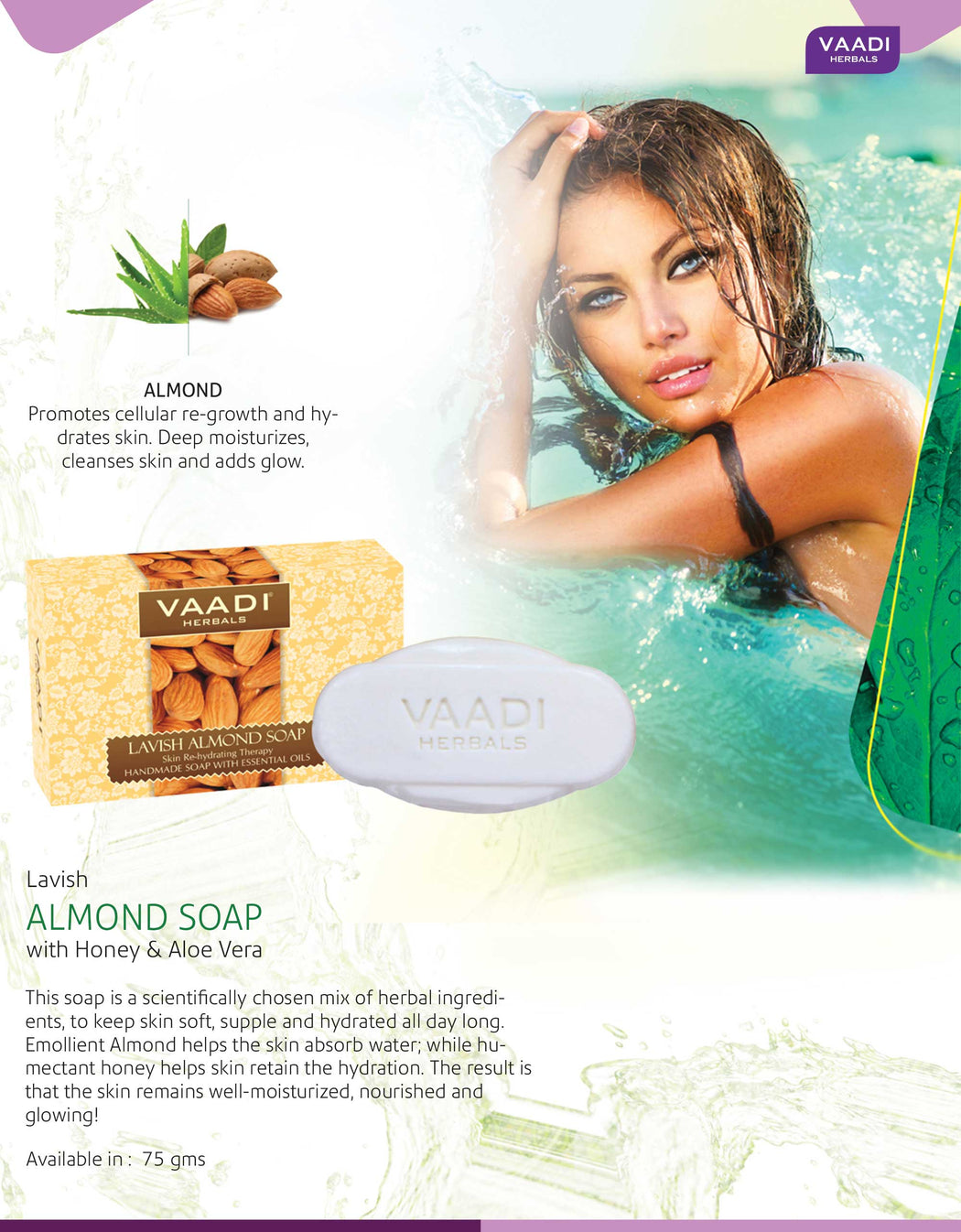 Rehydrating Organic Lavish Almond Soap with Honey & Aloe Vera - Improves Complexion - Keeps Skin Nourished (6 x 75 gms/2.7 oz)